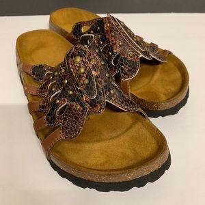 Betula by Birkenstock tan butterfly looking sandal